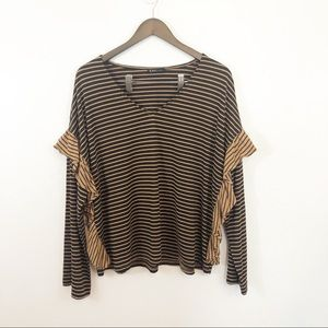 Very J black brown v-neck long sleeve ruffle